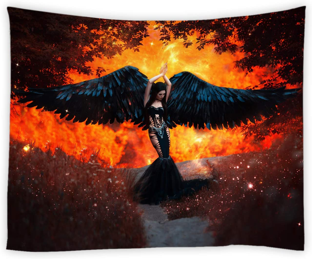 jingjiji Sexy Girl Tapestry Black Angel Woman Feather Wings Forest Red Flame Landscape Art Wall Hanging Tapestries Decor Bedroom Living Room Dorm Polyester Fabric 90 x 71 Inch