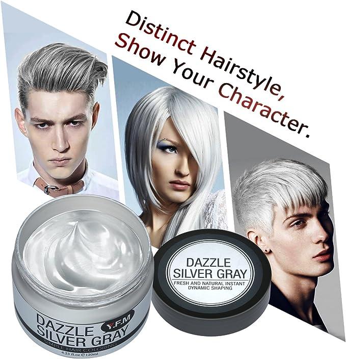 Cera Cabello Para Pelo Gris Plata, Crema Para Colorante Pelo Temporal, YFM Silver Gray Hair Color Wax 4.23 onzas