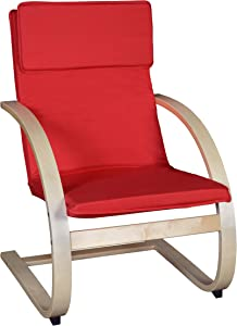 """Niche Mia Bentwood Reclining Lounge Chair, 26.5""""W x 28""""L x 39.5""""H, Natural/Red"""