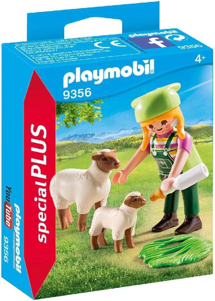 PLAYMOBIL- Granjera con Ovejas Juguete, Multicolor (geobra Brandstätter 9356)