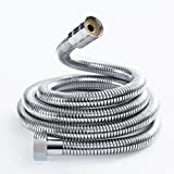 Joyoldelf 2m Stainless Steel Replacement Shower Hose Anti-Kink Flexible pipe with Brass Connector - Chrome