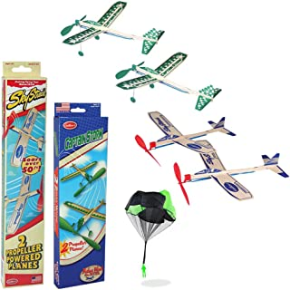 product image for Balsa Wood Airplane Glider and Parachute Man Rubber Band Powered Sky Streak and Captain Storm Twin Packs 5 Piece Set