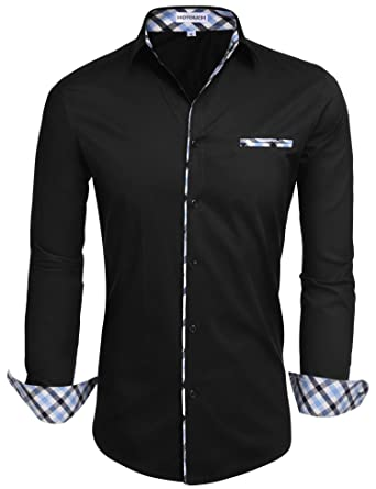 Hotouch Mens Fashion Slim Fit Contrast Long Sleeve Casual Button ...