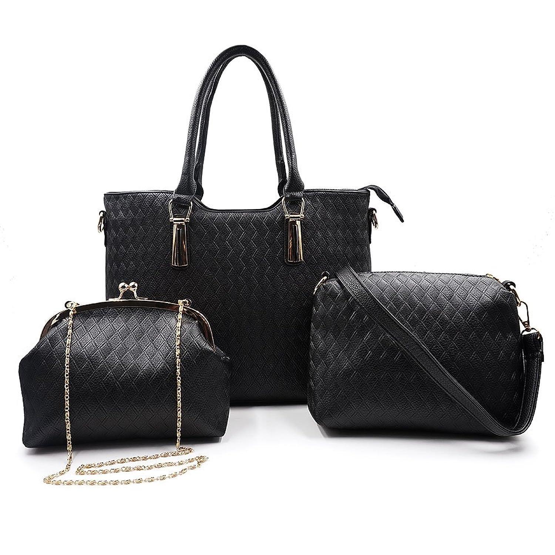 Greatsum Women Stylish Elegant 3 Piece Handbag Set for Women Crossbody Bag Shoulder Bag Evening Bag Black