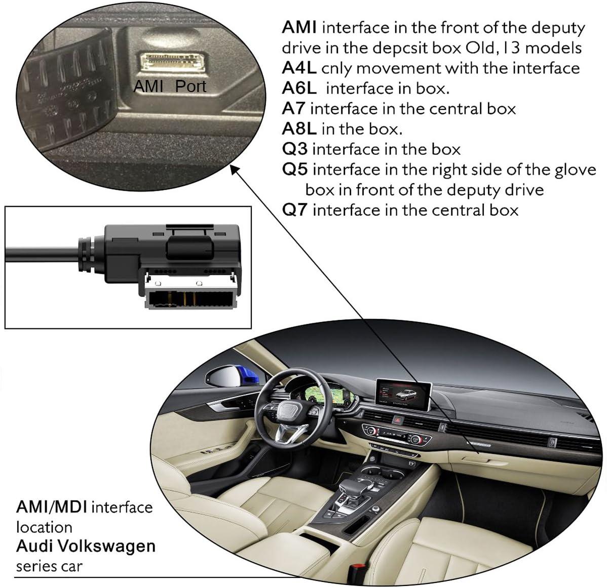 chelink Ami MMI USB-Anschluss Audio-Kabel f/ür Audi A3/A4/S4/A6/S6/A8/Q5/Q7/R8/TT Volkswagen Jetta GTI GLI Passat CC Tiguan Touareg EOS