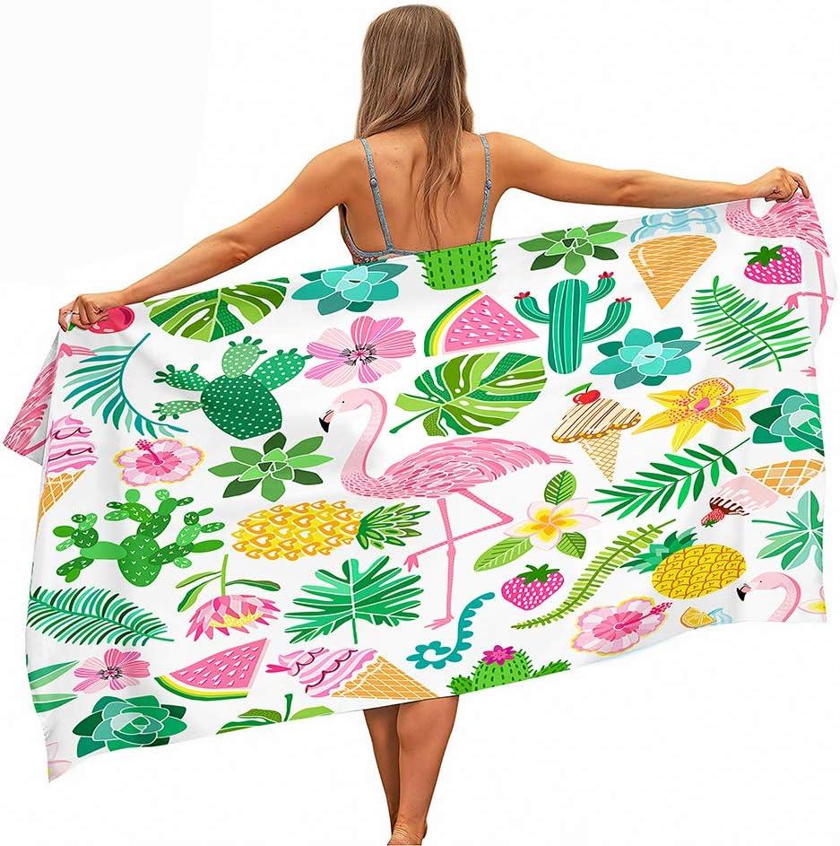 Fansu Toalla de Playa Microfibra Grande, Amor Flamencos Rosados Secado Rápido Súper Absorbente Toalla de Baño para Piscina de Viaje,Yoga,Nadar,Mujeres,Hombres (Coloridas Frutas Tropicales,80 * 180cm)