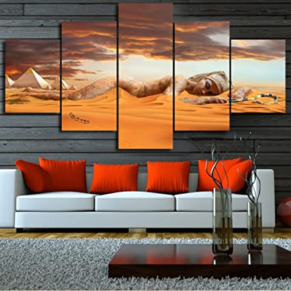 Amazon Com The Egyptian Pyramids 5 Pcs Set Wall Art In Golden