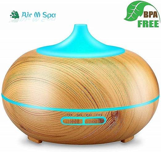 Difusor de Aroma eléctrico/difusor de Aceite Esencial Purificador de Aire Humidificador casero 300 ml Difusor de Fragancia de Color de Madera Clara para Yoga/SPA/habitación de bebé: Amazon.es: Hogar