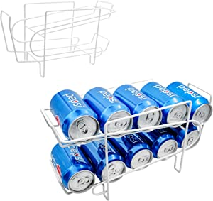 2-Tier Soda and Food Can Dispenser Storage Rack Organizer with Top Shelf for Kitchen Pantry, Countertop, Cabinet - Holds 10 Cans - White, Maximum size of soda and food cans 2.7