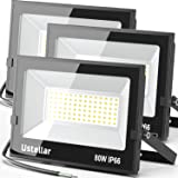 Ustellar 3 Pack 80W Led Flood Lights Outdoor Bright 24000LM Security Lights Outside Lamp IP66 Waterproof 5000K Daylight White