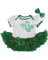 1st St Patrick Day Baby Dress White Bodysuit Green Sequin Tutu Romper Nb-18m