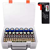 Battery Organizer Storage Box, Garage Storage Containers Case Holder with Battery Checker Tester Fits for 86 Batteries…