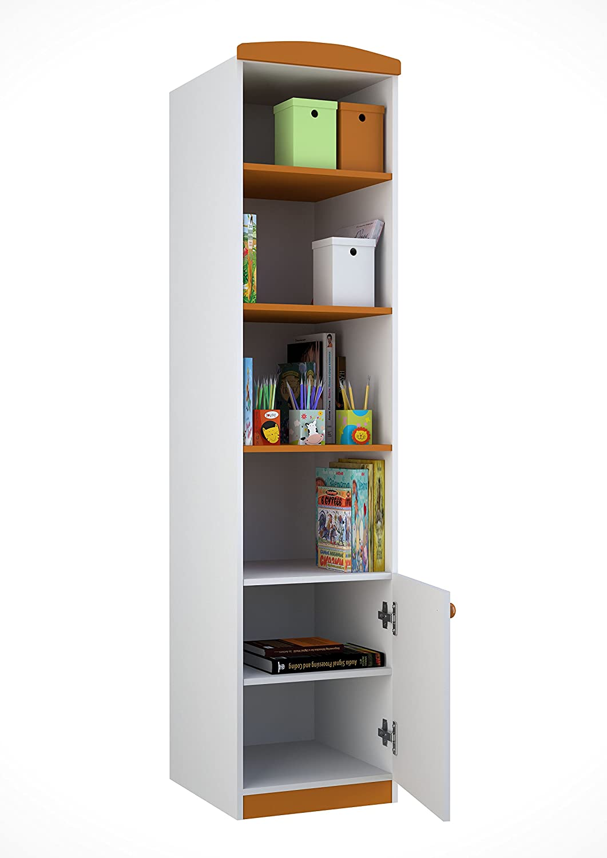 Polini Kids 0001191 Collection Basic Jungle 1-Section Shelving Unit, White-Orange Polini Kids_0001191-1