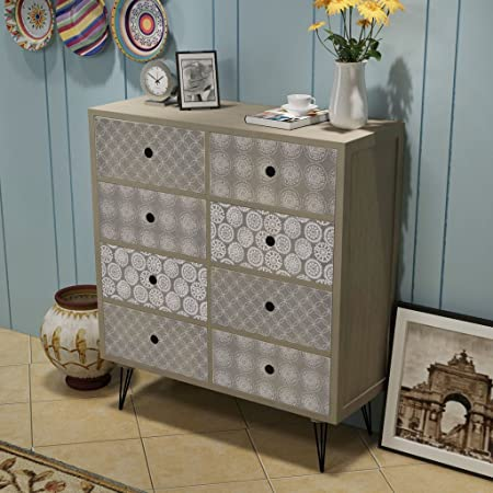 festnight retro 8 drawers console cabinet sideboard cabinet cupboard rh amazon co uk console tv cabinet with 4 drawers reclaimed teak Gray Cabinets with Drawers Console
