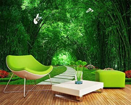 Custom Wallpaper Bamboo Forest Park Shade Road 3D Landscape ...