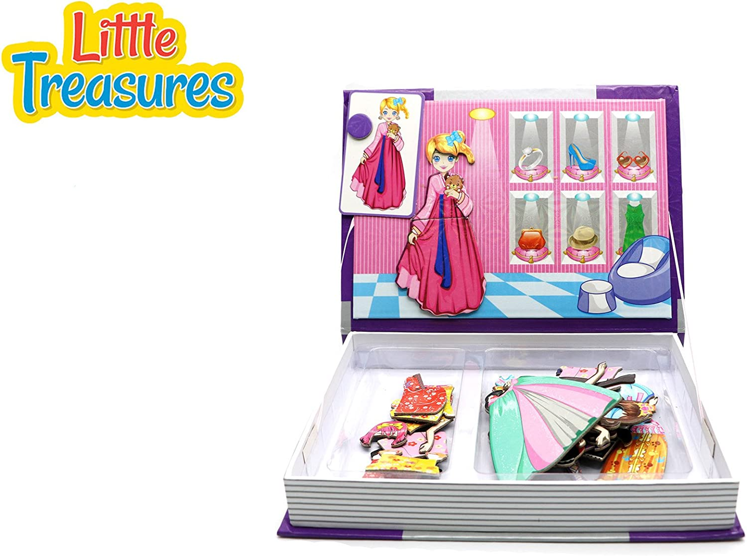 Little Treasures 51-Pcs Magnetic Dress-Up Set Princess Series Dress-Up Baby Toy Book for Kids Ages 3 Plus