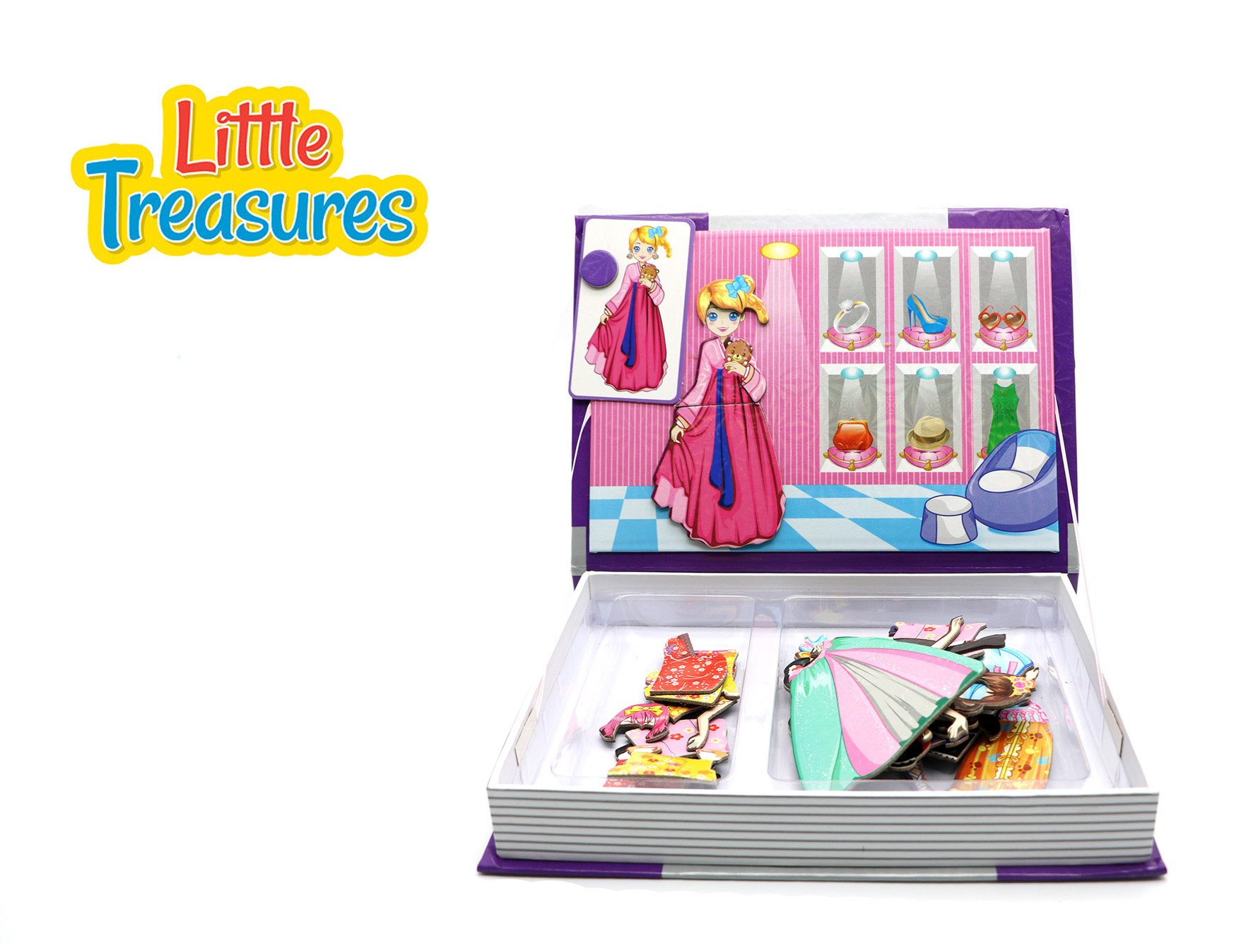 Little Treasures 51-Pcs Magnetic Dress-Up Set Princess Series Dress-Up Baby Toy Book for Kids Ages 3 Plus by Little Treasures