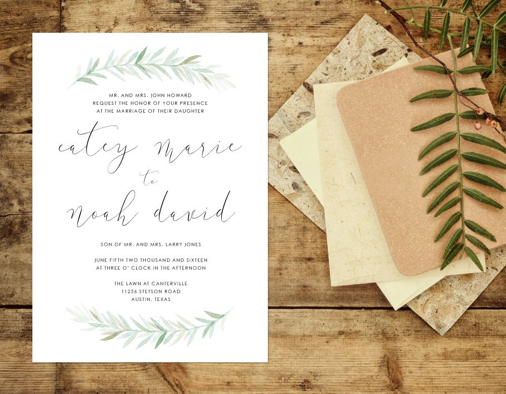 Greenery Wedding Invitation, Leafy Script Wedding Invitation, Simple Organic Wedding Invite