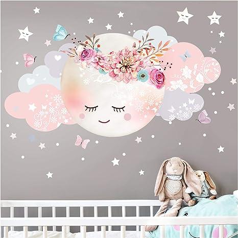 Little Deco Wandsticker Kinderzimmer Madchen Mond Wolken I Xl 127 X 63 Cm Bxh I Wandtattoo Babyzimmer Selbstklebend Wandaufkleber Sterne Blumen Kinder Dl243 Amazon De Kuche Haushalt