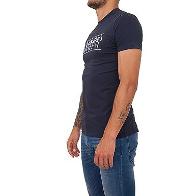 Emporio Armani Armani T-Shirt col Rond Extensible en Coton Bleu ... 6bfc8bea517