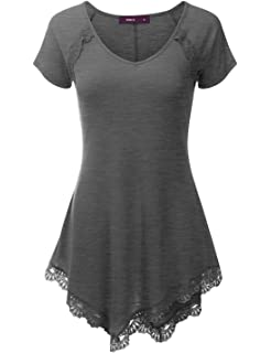 010860a128b DUNEA Women s Plus Size Lace Sleeve Tunic Tops Irregular Hem Scoop ...