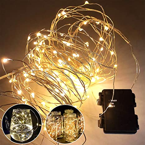 timeless design aa5e3 fec06 Timer Fairy Lights (3 Pack) 120 Warm White LED 39.4Ft String Lights Battery  Operated Christmas Decorations Lights for Indoor/Outdoor Christmas Tree, ...