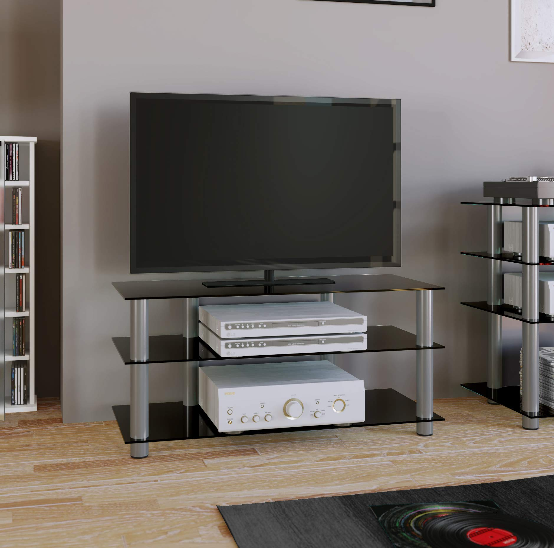 VCM TV Hifi Furniture Lowboard Entertainment Unit Table Shelf Shelves  Aluminium Glass Brass Silver/Clear