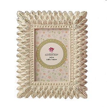 Amazon.com: 64 Ivory and Brushed Gold Leaf Design Place Card Frames ...
