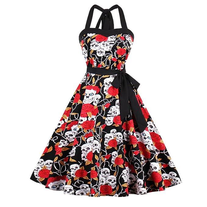 Se apresuraron Spandex Algodón Vintage una oficina online vestidos moda mujer Halter vestido de verano de Hepburn Polka Swing vestidos: Amazon.es: Ropa y ...