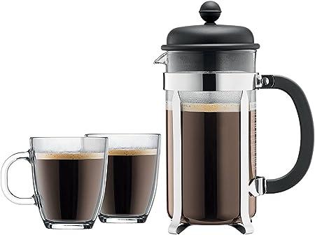 Bodum Caffettiera prensa francesa cafetera eléctrica conjunto, 8 Original taza grande 34 oz, negro, con 2 vasos de doble pared 12 oz taza transparente reutilizable: Amazon.es: Hogar