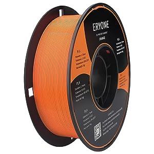 Filament PLA 1.75mm, ERYONE PLA Filament 1.75mm, Imprimante 3D Filament PLA Pour Imprimante 3D, 1kg 1 Spool,Orange