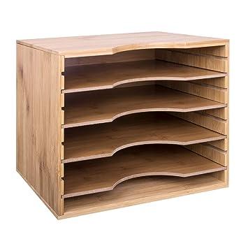 meilleure sélection 8c786 38bb5 Woodluv Bac de rangement bureau 5 niveaux ajustables format A4