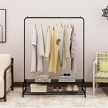 BOFENG blanco Perchero de metal resistente para interiores o dormitorios con barra superior y estante inferior de almacenamiento para ropa