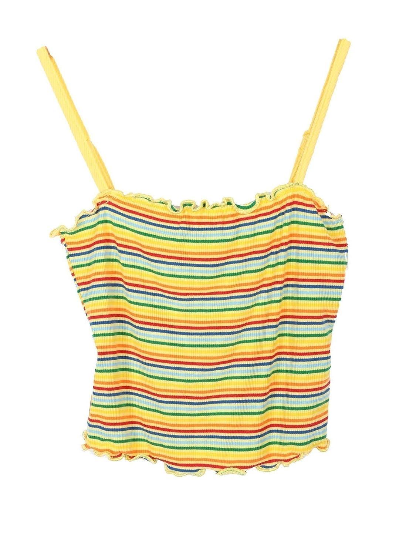 Lori /& Jane Big Girls Yellow Blue Stripe Curly Edge Spaghetti Strap Top 14
