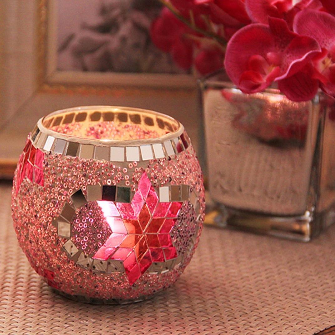 Teelichtgl/äser Wandleuchter Mosaik Glas Kerzenhalter Romantische Hochzeit Dekoration Heiratsantrag Upxiang Requisiten Hochzeit Ornamente Dekoration Kunst Geschenke A