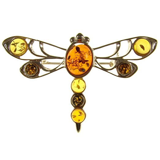 Baltic amber and sterling silver 925 designer multi-coloured dragonfly brooch pin jewellery jewelry 4QA8E0Y