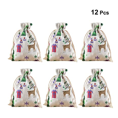BESTOYARD 12pcs Bolsas de arpillera de Navidad Bolsas de ...