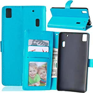 Case For Lenovo K3 Note A7000 ,PU Leather Protection 3 Card Slots Wallet Flip Case Cover-Blue