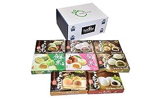 Japanese Mochi 8 Variety Pack: Coconut Pandan, Taro, Sesame, Hamimelon, Lychee, Green Tea, Peanut & Red Bean in Fusion Select Gift Box