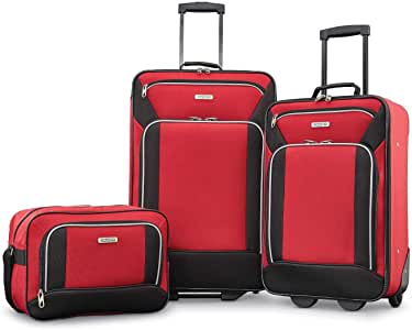 American Tourister Fieldbrook XLT Softside Upright Luggage, Red/Black, 3-Piece Set (BB/21/25)