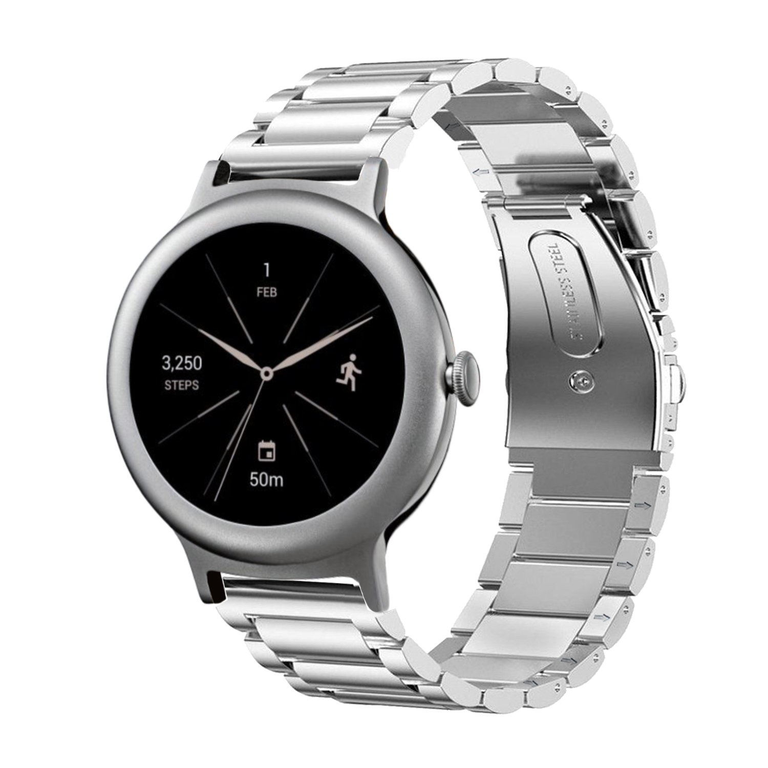 Oitom Premium Stainless Steel Watch Band Strap for LG WATCH STYLE Smart Fitness Watch(Silver)