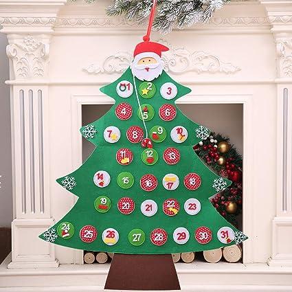 Sencillo Vida Bricolaje árbol de Navidad de Fieltro Con 31 Adornos ...