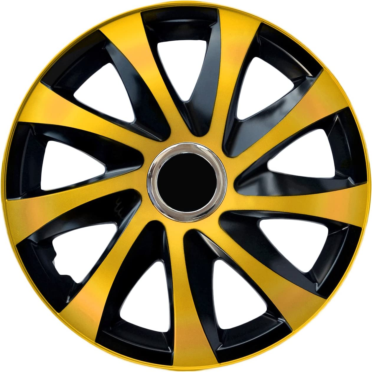 NRM Drift EXTRA 4 x Universal Radzierblenden Radkappen Satz 4er Set Auto KFZ Matt Schwarz, 16