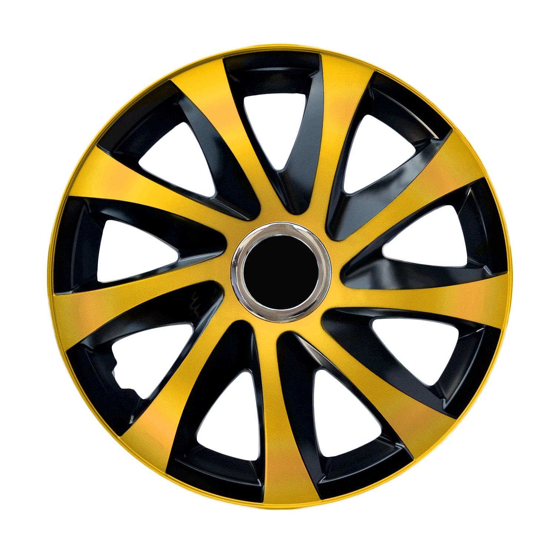 NRM Drift EXTRA 4 x Universal Radzierblenden Radkappen Satz 4er Set Auto KFZ Matt Schwarz, 15