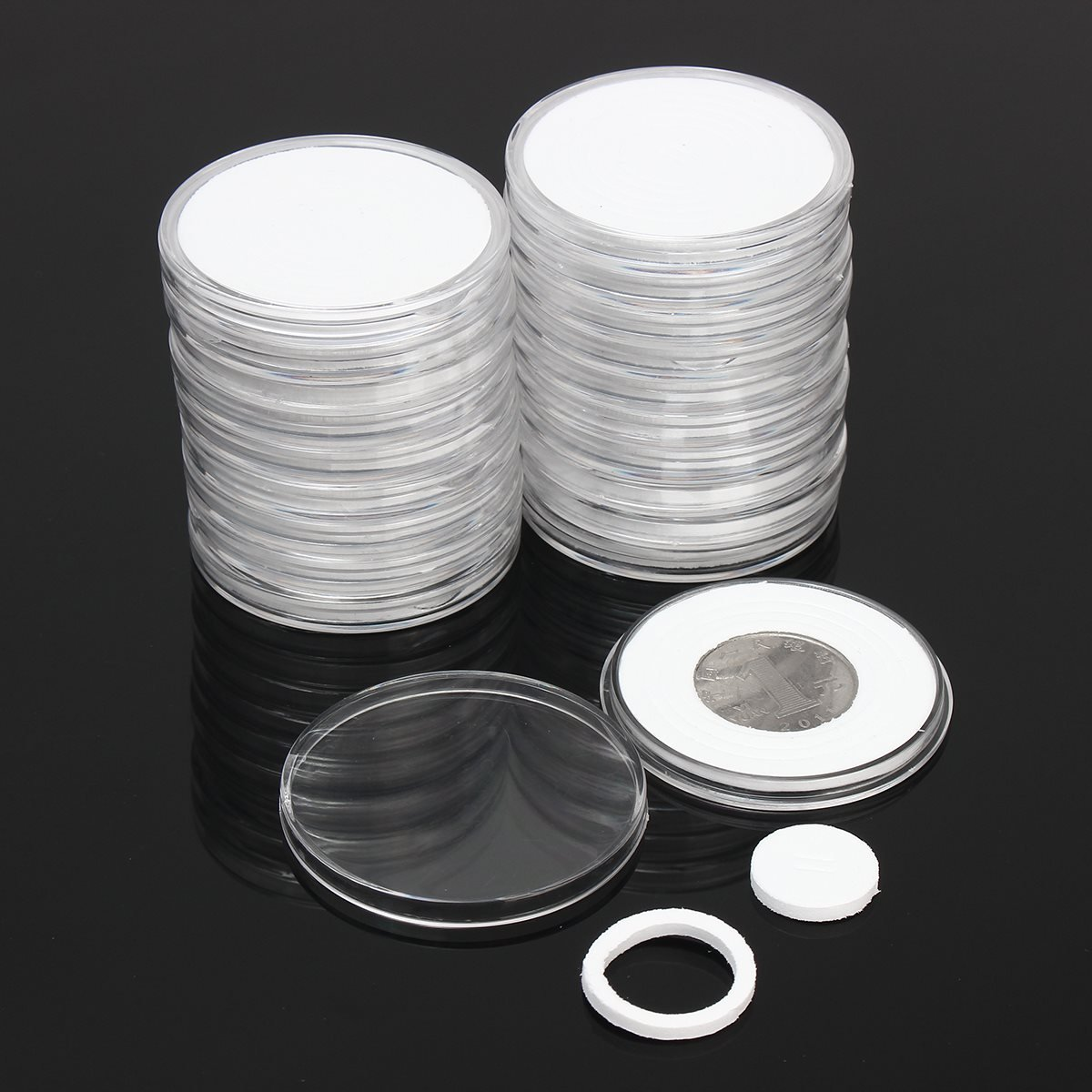 Xiaolanwelc@ 20 Pcs/Set Coin Storage Container Box 51mm Dia. Round Display Capsules Holder Ring Applied Clear Plastic Cases Collection Gifts (One)