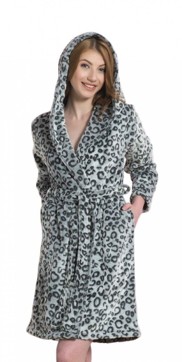 Galleon - Glamour Empire. Womens Robe Patterned Fluffy Dressing-Gown ...