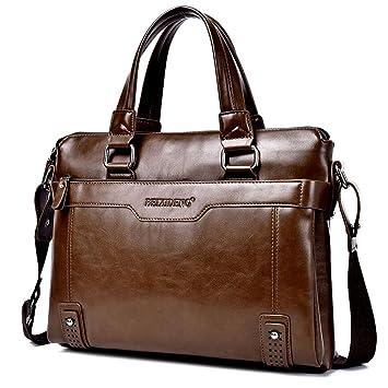 VOLOCEAN Mens Leather Bag Classic Messenger Bag Business Big Shoulder Bag