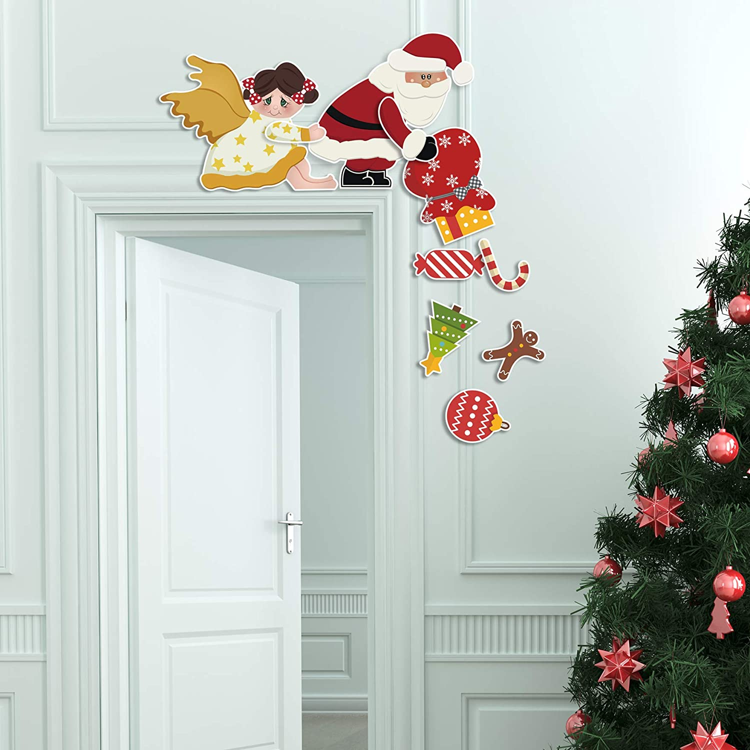 GEGEWOO Christmas Santa and Angels Door Frames Decoration Lovely and Interesting Christmas Decor for Doors Windows and Walls Christmas Party Decoration Door DIY Craft Supplies