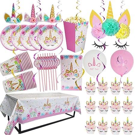 Unicornio parte suministros y decoraciones con Pink Unicorn ...