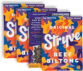 product image for Stryve Original Biltong | Low Fat, Low Carb, Low Sugar | 16g Protein | 4 Pack of 2.25oz